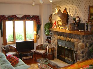 Lake Placid condo photo - Living Room- Fireplace, Antler Table, 32 in HDTV