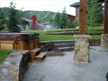 View of our Deer Valley Mansion backyard, Jacuzzi