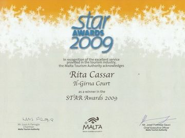Haz-Zebbug apartment rental - Malta Tourism Authority Star Awards Certificate
