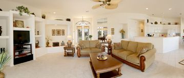 Spacious living area with open gourmet kitchen