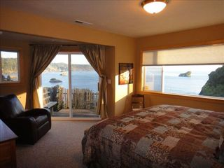 Trinidad house photo - Master bedroom with ocean view, king size bed, sitting area, walk-in closet