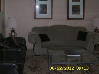 Living Room, seats 10, ceilng fan, cable tv/dvd/vcr - Brigantine townhome vacation rental photo