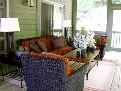 Screened Porch seats 8 and has separate Dining for 6 (in addition to open decks)