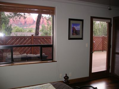Sedona house rental - view from master bedroom window and deck