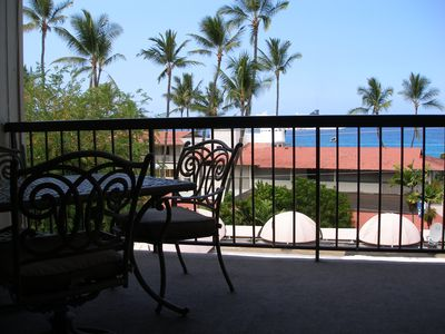 Dine on the lanai with a view of the pier