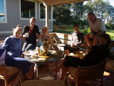 Family fun on the Lanai, outdoor dining for 14 guests & 10 inside.