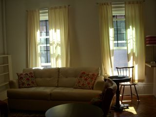 Boston condo photo - Evening light through tall windows. Queen size sleep sofa.