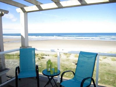 Balcony and BBQ off the living area. Gorgeous views of Rockaway Beach