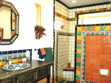 Colorful Talavera tile in bathrooms.