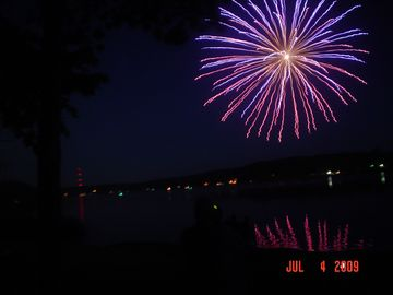 Fireworks on 4th of July on Cranberry Lake..