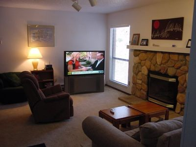 "Livingroom with fireplace & 51"" TV"