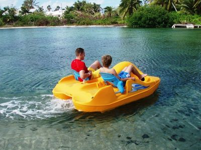 "The ""paddle boat"" also has space to take a couple of kids as ""back seat riders"""