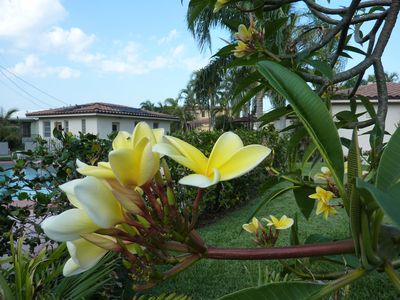 Frangipani, detached garage on left, glimpse of house on right