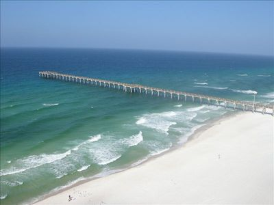 View of Beach and Pier from Balcony