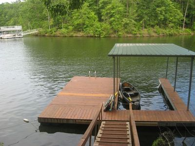 View of dock in the cove / use of the canoe is free