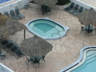 Redington Shores condo photo - hot tub, note sand in upper right corner - that's where the beach is!