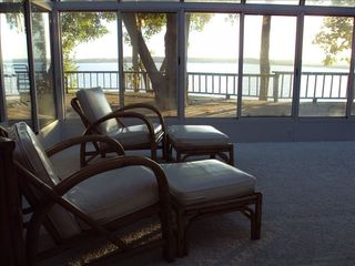 Langley house photo - View from sunroom overlooking deck (with Heat and Air Conditioning)