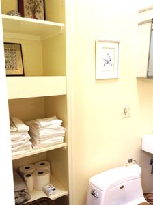Ample storage in bathroom, towels Included