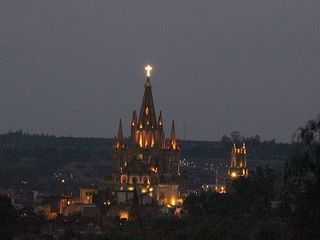 San Miguel de Allende villa photo - View of Parroquia at Night from Roof-top Deck