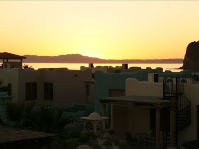 Sunrise over beautiful Isla Del Carmen from rooftop.