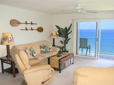 living room with ocean view from lanai