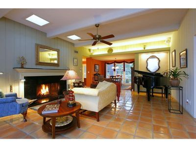 Main Living Area - marble fireplace, baby grand piano and more.