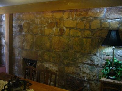 Vintage 1880 Stone Wall Dining Room.  What A Conversation Piece