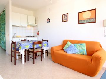 San Vito lo Capo apartment rental - THE BRIGHT AND QUITE LARGE LIVING ROOM EQUIPPED...