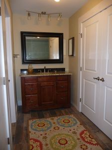 Beautiful Master Bath Vanity Area.... showing closet area on right side...