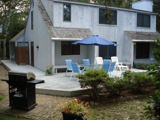 Edgartown house photo - Enclosed Outdoor Shower & full view of L-shape deck & picnic table (Not Shown}