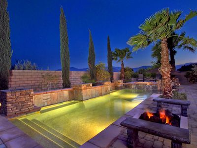 There are outdoor fire pits for evening and night relaxing by the pool