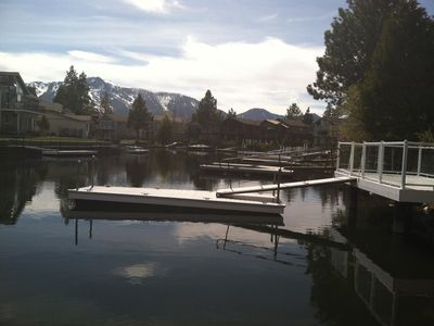 view of water and Mt. Tallac from the BrinzerHaus private boat dock