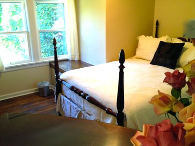 Medium upstairs bedroom with queen bed. All bedrooms have large walk-in closets