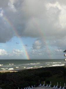 Rainbow over the ocean as seen from our private balcony