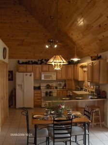 Munising cottage rental - Full equipped kitchen open to the dining and living areas. Cathedral ceilings.