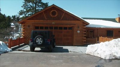 Front of Cabin - driveway - 3 cars and garage-1 car