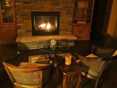 Enjoy a cozy evening by the fire