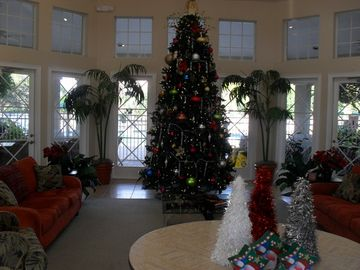 Clubhouse decorated for the holidays