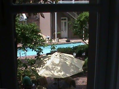 view of courtyard from guest bedroom window