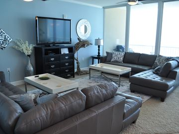 "Gulf Shores condo rental - Living area with gorgeous leather sectionals and 55"" TV with Netfix ..."