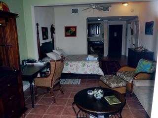 Cruz Bay condo photo - Studio layout with TV at left, sofa/bed at right, terrace behind photographer