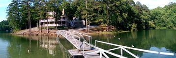 Lewis Smith Lake house rental - Welcome to Baldridge Pointe! Panoramic view of the property from the boat dock.