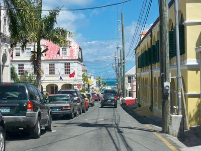 Christiansted on the street. Stay left!