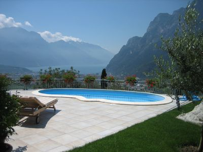 Riva del Garda villa rental - Pool area Looking Toward Lago Di Garda and Riva Del Garda