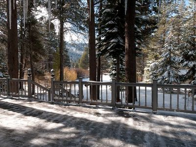 Back deck of Rays Riverfront Retreat overlooking the Upper Truckee River