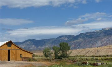View of barn and Big Horn Mountains (northeast of the house)