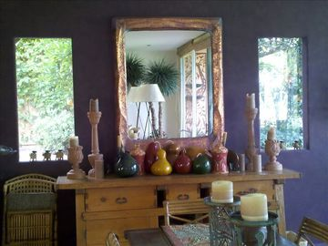 Dining room mirror & windows