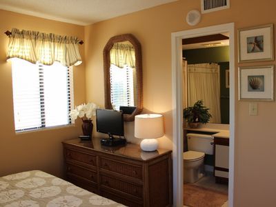 Windy Hill condo rental - private bath, ocean view window and 22'' flat tv + lots of drawer/closet space