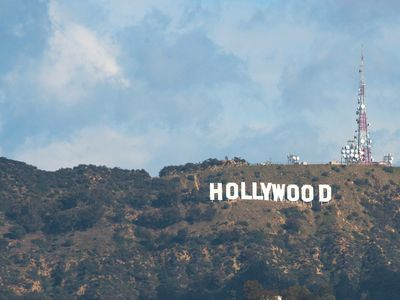 View of the Hollywood Sign from rooftop deck.