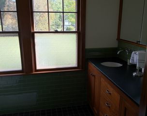 Phoenicia house photo - Master bathroom with two sinks, subway tile, rain shower & radiant heat.